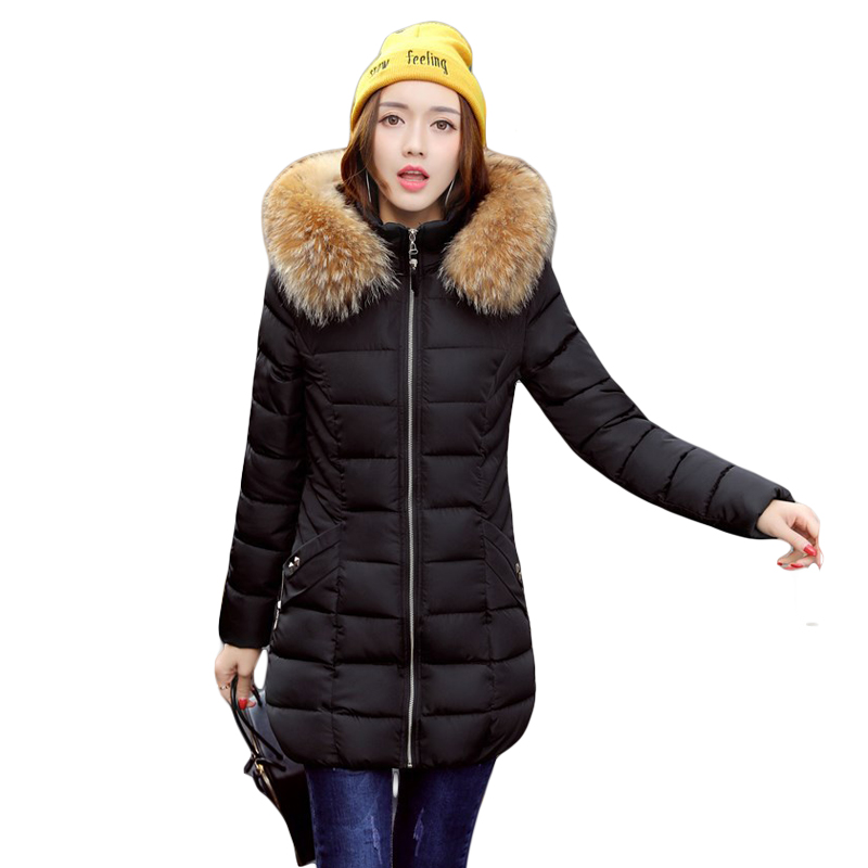 Snow Wear 2017 High Quality Winter Women Jacket Cotton Coats Fur Collar Hooded Parkas Fashion Long Thick Femme Outwear CM1346Îäåæäà è àêñåññóàðû<br><br>