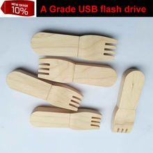 Customized LOGO: 16GB Wooden fork usb flash drive 32gb fork micro sd card with free shipping(Hong Kong)