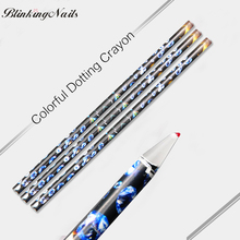 BlinkinNails 3pcs Black Nail Art Pen Nail Rhinestones Fancy Pens Silicone Dotting Tool Wood Stick Nail Wax for Manicure Tools(China)