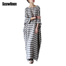 SCUWLINEN 2017 Summer Dresses Vintage Striped Batwing Sleeve Robe Maxi Long Loose Plus Size Women Dress Casual Linen Dress S193(China)