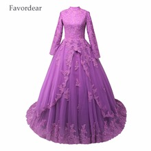 Favordear High Collar Lace Ball Gowns Bridal Dress Custom Made Long Sleeve Lace Princess Muslim Wedding Dresses