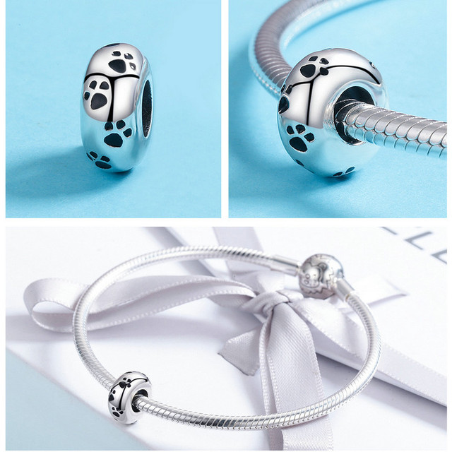 Dog paw print Spacer Beads for Charm Bracelet & Necklace