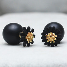 2015new design fashion brand elegant Daisy jewelry double Imitation pearls stud earrings for women big beads Flowers earings