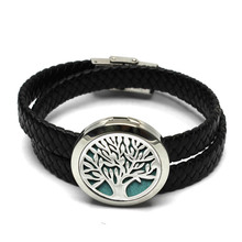 Top Sale Tree of Life Design Diffuser Locket Bracelet 30MM Round Aromatherapy Hollow Perfume Locket Bangle With Pads(China)