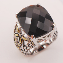 Black Onyx Women 925 Sterling Silver Ring F816 Size 6 7 8 9 10