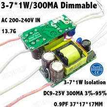 5 Pieces Isolation 7W AC200-240V LED Dimmable Driver 3-7x1W 300mA 3%-95% DC9-25V Power Constant Current BulbLamp Free Shipping(China)