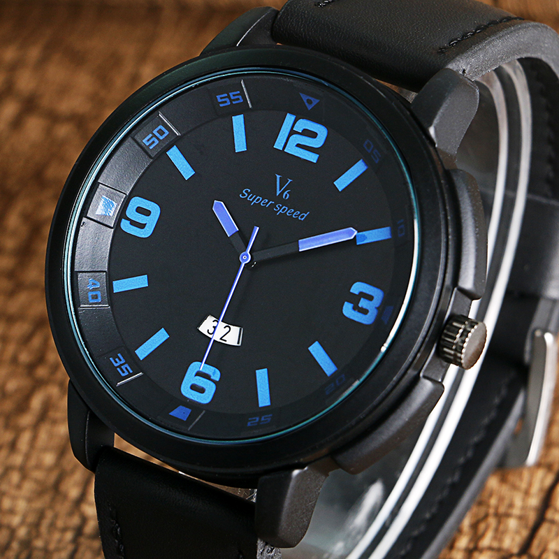 Cool Men Black White Date Quartz Wristwatches With Leather Band Fashion Business Watch For Gift<br><br>Aliexpress