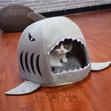 Cute Pet Products Sleeping Shark Cat House Bedding Basket Small Medium Puppy Litter Dog Bed Lounger for Animal Cama Home Kennel(China)