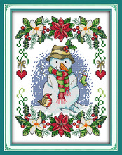 Joy sunday cartoon style New Year snowman quick cross stitch patterns for hand stitching supplies