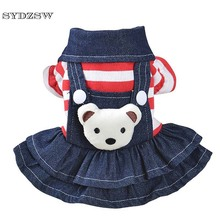 SYDZSW Stiped Pet Cat Dog Dress Puppy Chihuahua Clothes Small Dog Costume Cute Bear Pet Princess Dress Doggie Cowboy Apparel