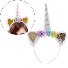 1 pc Fashion Christmas Halloween Gift Gold Unicorn Headbands with Pony Ear and Felt Rose Flower Animal Unicorn Party Headband