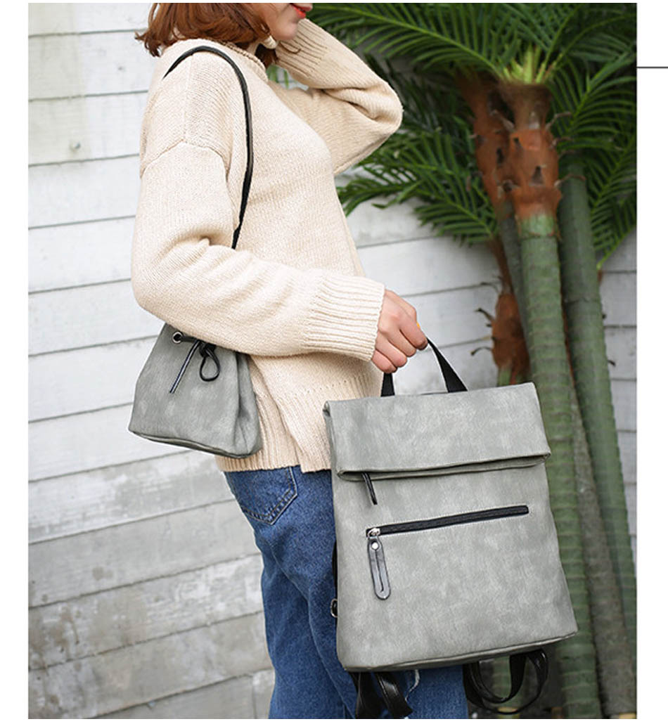 iStylishMall- 2 PCS/SET Vintage Backpack Women PU Leather Backpacks with Shoulder Bag School Bags for Teenagers Black Female mochila