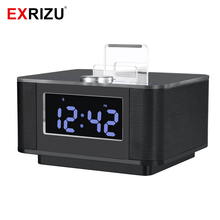 EXRIZU K5 Bluetooth Handsfree Speaker LCD Screen Alarm Clock Dock Station Stereo 2.0 Music Subwoofer Support AUX USB Snooze Mute