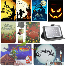 "7 inch Universal 7"" inch Christmas Halloween Cover Leather Case Kids Gift for RCA Voyager II Tablet 8GB Quad Core Android 5.0"