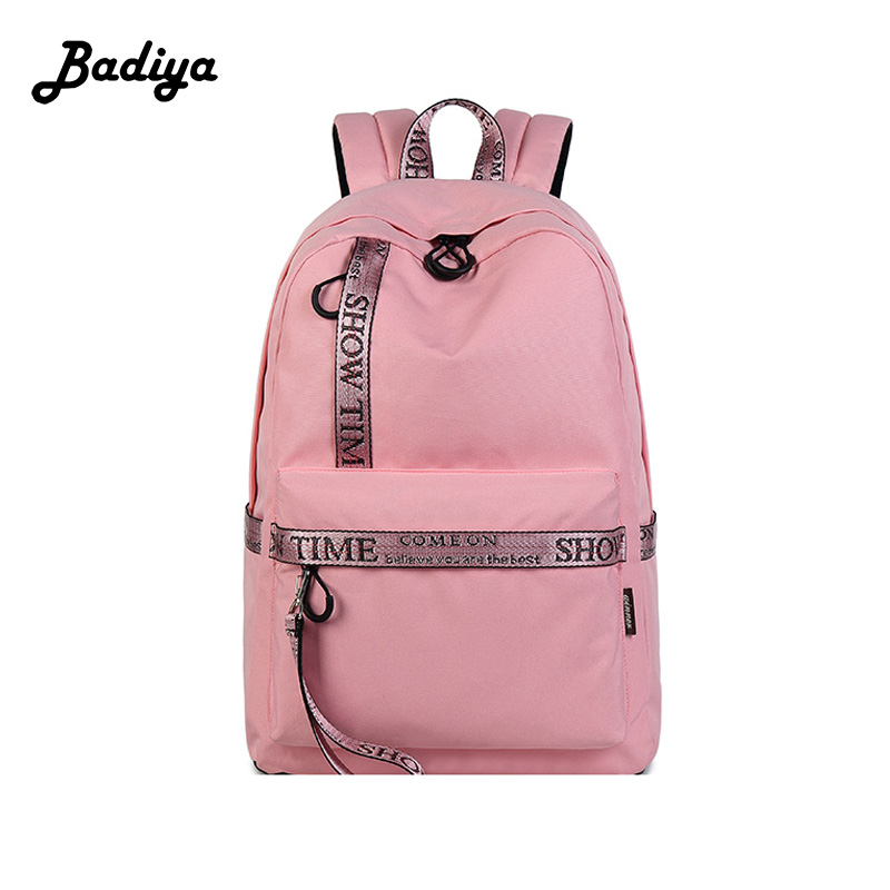 Fashion Solid Laptop Backpack Women USB Charging Polyester Waterproof Shoulder Bag Ladies School Bag Student Casual Travel Bags<br>