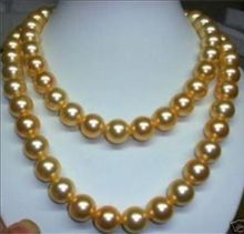 10mm gold AAA south sea shell pearl necklace 32 INCH>bead charm body jewelry charm jewelry