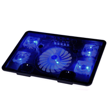 "Laptop Cooler Pad 14"" 15.6"" 17"" with 5 fans 2 USB Port slide-proof stand Notebook Cooling Fan with light(China)"