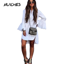Muiches White Shirt Dress Summer 2017 Fashion Flare Sleeve Elegant Woman Dress Casual Clothing Vestidos