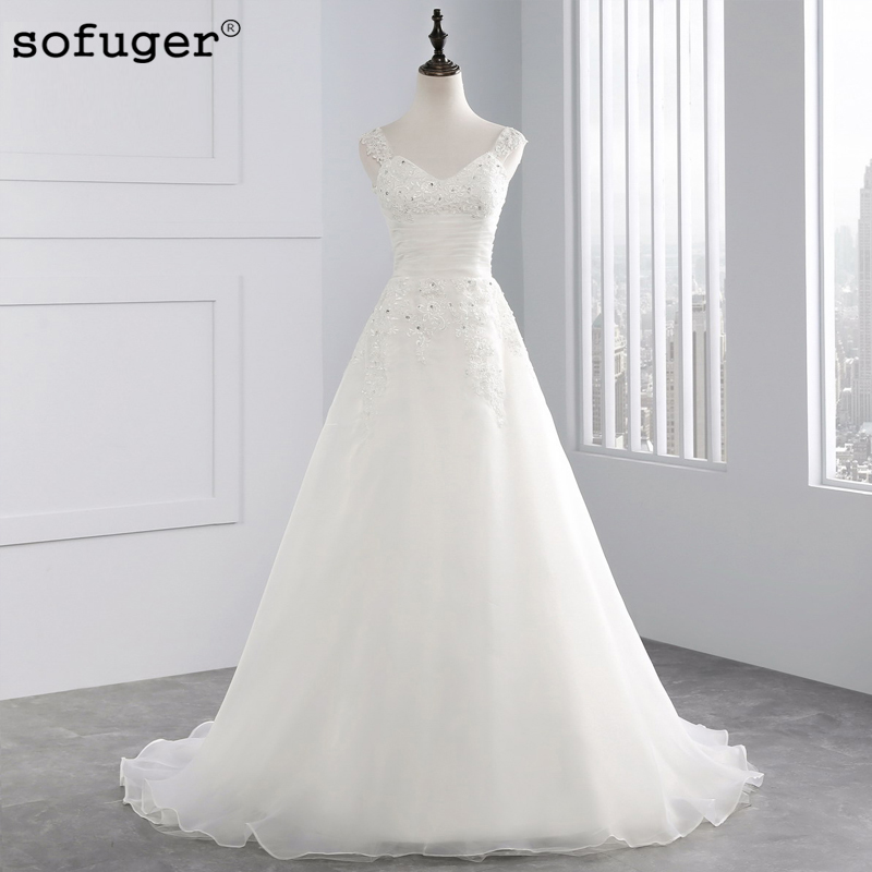 Innovative Design Spaghetti Straps Train Sleeveless Appliques Beading Organza Sexy Wedding Gown Bridal Dresses(China)