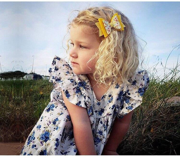 Mother nest 2018 Summer New Girls Flower Puff Sleeves Dress Cotton Children Kids Clothes Toddler Baby Birthday Kids Dresses (1)