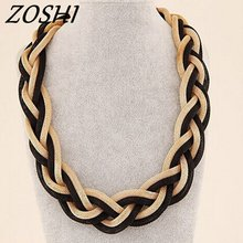 ZOSHI Fashion Weaved Handmade Big Necklace Chunky Chain Women Choker Wide Maxi Collar Statement Necklaces 2017 Big Jewelry