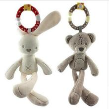 cute Baby crib stroller toy animal Rabbit Bunny Bear Soft Plush infant Doll Mobile Bed Pram kid Animal Hanging ring 44% off(China)