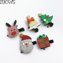2PCS/Lot Cute Christmas Hair Bows Children Hairpins Little Girl Glitter Hair Clips Handmade Kids Festival Gifts Hair Accessories(China)