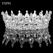 YXPH Baroque Crown Headdress Palace Retro European Bride Crown Wedding Accessories Full Circle Round Crown Jewelry WHG152