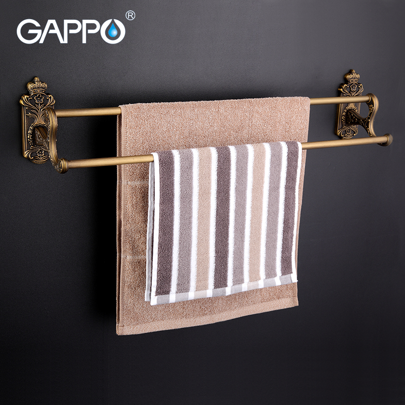 GAPPO 1Set Wall Mounted 60cm Double Towel Bars antiquities Towel Holder hooks restroom Towel Rack Bathroom accessories G3609<br>