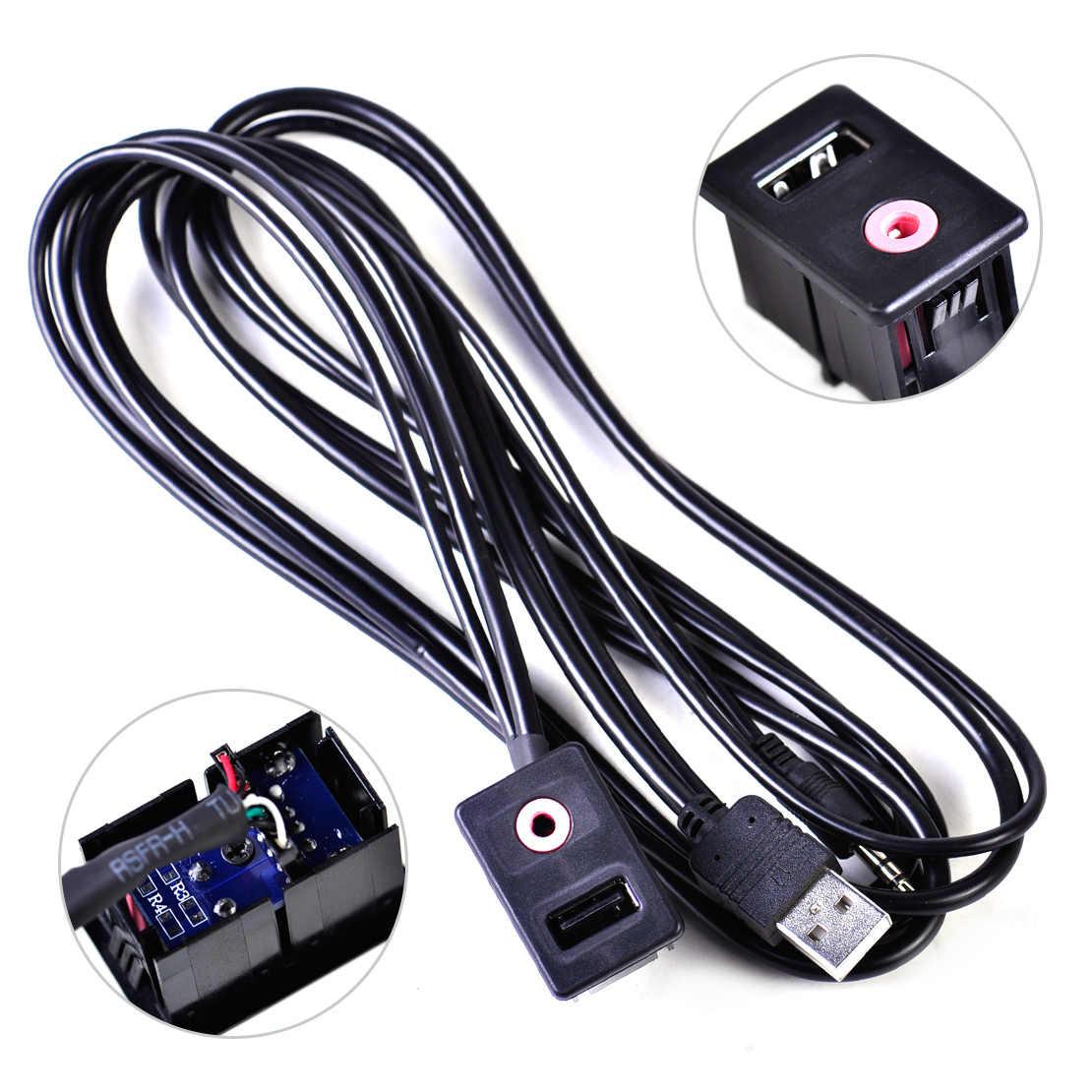 Car Audio Dash Flush Mount USB Port 3.5mm AUX Extension Cable w// Mounting Panel
