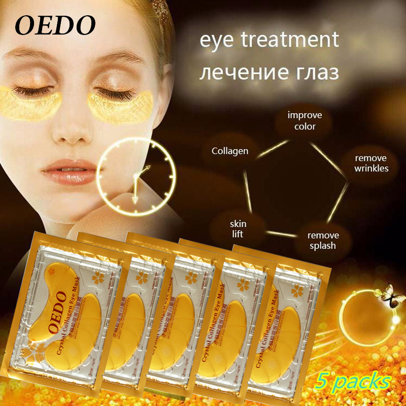 10pcs=5pack Anti-Aging Gold Crystal Collagen Eye Mask Skin Care Eye Patches Crystal Beauty Anti Dark Circle Anti-Puffiness Cream(China (Mainland))