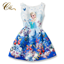 2017 Summer Girls Dresses Elsa Dress Anna Princess Party Dress For Girls Vestidos Teenagers Butterfly Print Baby Girl Clothes