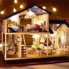 Assembling DIY Miniature Model Kit Wooden Doll House Romantic Provence House Toy with Furnitures & Convertible Gift for Girl