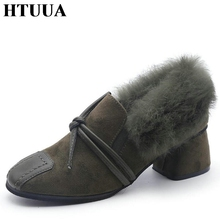 HTUUA 2017 New Autumn Winter Slip-On Women Pumps Fashion Elegant High Heels Thick Heels Wedding Ladies Shoes SX697(China)