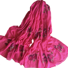 95*180 Large size Long Embroidery Scarf Women floral Viscose Shawls and Wraps Ethnic Japanese Ladies Scarves Beach Sunscreen