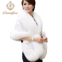 Dannifore Bridal Wedding Faux Fur Coat Autumn Winter Warm Shawls Wedding Outerwear Jacket Bolero White Black Burgundy Free Size