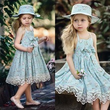 Puseky 2017 Fashion Summer Girl Dresses Wedding Party Children Lace Dress Quality Toddler Baby Girl Clothes Casual Kids Costume(China)
