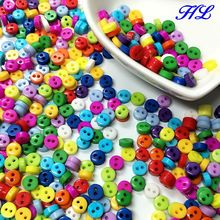 HL 300pcs 5mm mini resin buttons kid's apparel sewing accessories mix colors two holes DIY scrapbooking A994(China)
