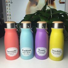 Water Bottle fashion Children 2017 new fashion hand-held retro wooden cover students keep warm ladies milk water bottle(China)
