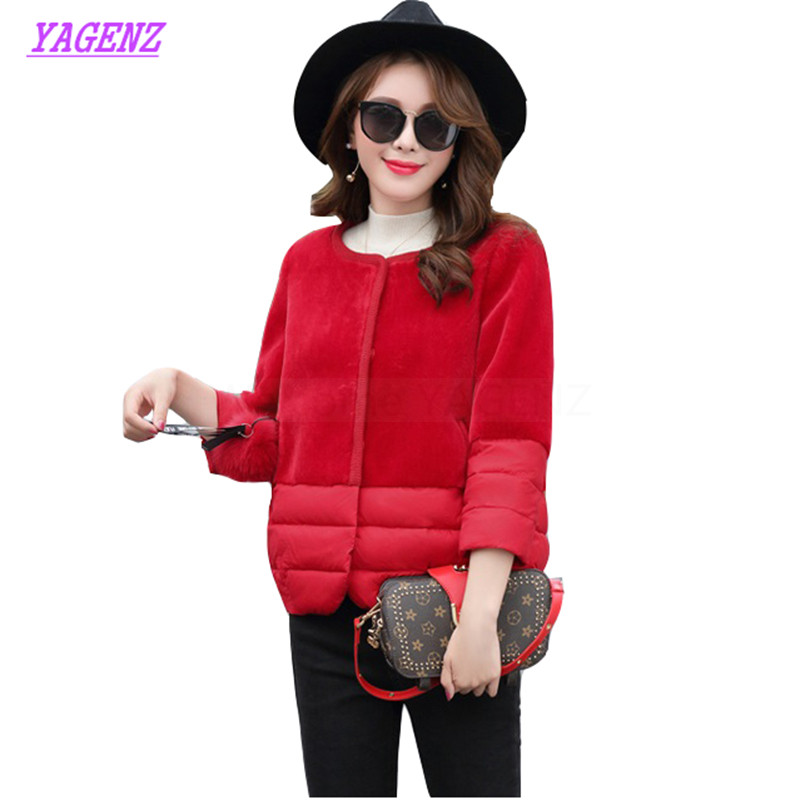 New Winter Down cotton Jacket Women Slim Light Short Cotton Outerwear Young Women Sleeve Round neck High quality Overcoat B317