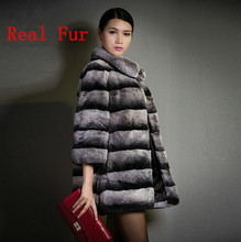 New Winter Warm Genuine Fur Chinchilla Real Rex Rabbit Fur Coat Natural Fur Long Coats For Woman Ladies Fur Outwear Parka