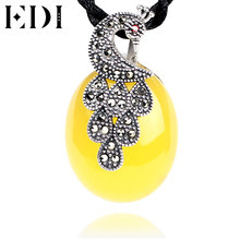 EDI New Fashion Style 925 sterling silver necklace High Quality yellow Gemstone Pendant Necklace Jewelry For Women(China)