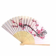 Fancy Chinese Silk Bamboo Hand Held Folding Cherry Blossom Wedding Party Fan Dance
