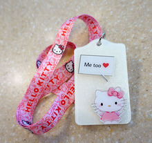 Cute Hello Kitty ID bUS Card Case Badge Holder Employee Identity Card Badge Holder With Cartoon Printed Lanyard 1pcs