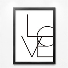 Frameless Modern Minimalist Black White LOVE Quote Canvas Art Print Poster Wall Pictures for living room, Wall Home Decor DP0018