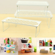 1Pcs Foldable Stacking Storage Shelf Rack Plastic Organizer Kitchen Seasoning Food Sundries Holder Bathroom Desk Hanger
