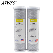 ATWFS 2pcs Universal Water Filter Activated Carbon Cartridge Filter, 10 Inch CTO Block Carbon Filter Water Purification System(China)