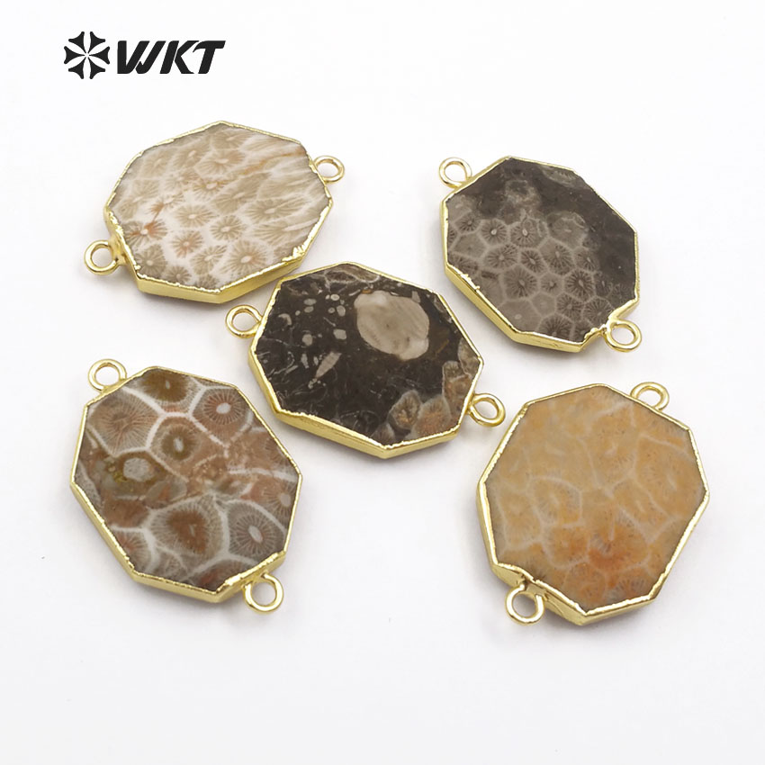 WT-C261 Wholesale Custom stone Natural Chrysanthemum Connector Unique Stone Metal Plated Irregular For Fashion women Jewelry