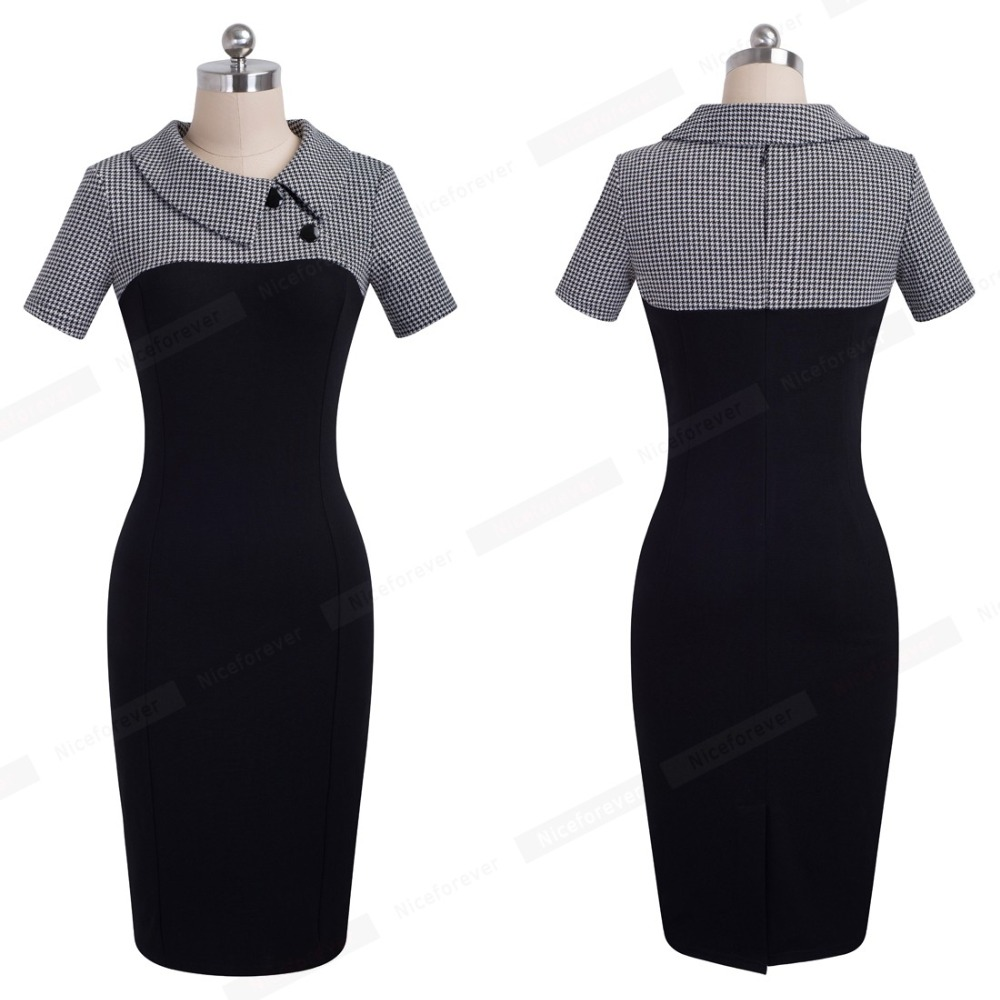 Nice-forever Elegant Vintage Fitted winter dress full Sleeve Patchwork Turn-down Collar Button Business Sheath Pencil Dress b238 34