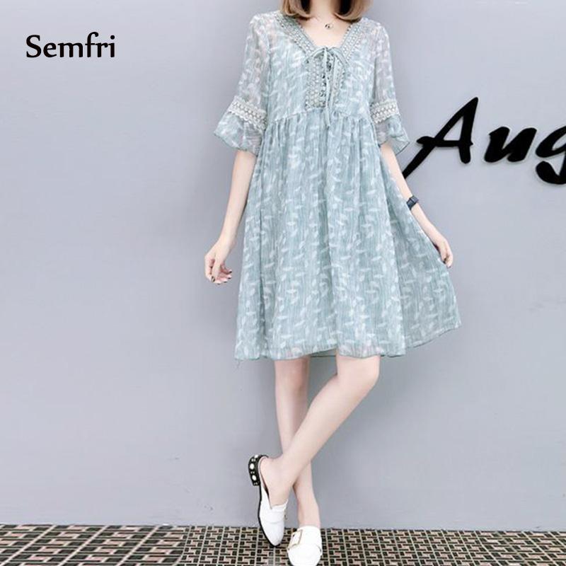 Semfri Blue Printed Chiffon Dress Women Summer Sexy V Neck Short Sleeve Dress Plus Size 5xl Ladies Sweet Clothes Streetwear 2019 12 Online shopping Bangladesh